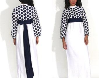 Vintage 60s White Lace Sheer Navy Polka Dot Empire Waist Bell Sleeve Maxi Dress Glam