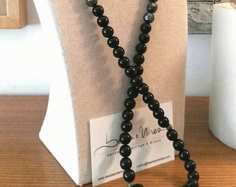 Long black grey necklace