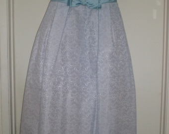Blue Wedding Dress / Evening Gown Bridal Blue 60s Rockabilly Chic Lace with Satin Bows & Tulle Underskirting
