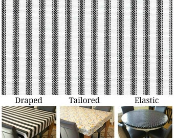 Laminated cotton aka oilcloth heavyweight tablecloth, fitted by TAILORING or fitted by ELASTIC or DRAPED, black and white ticking print