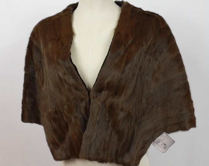 1940's Brown Ermine Stole // Fur Capelet // Ermine Capelet // Fur Shawl // Brown Fur Cape