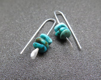 natural turquoise earrings. small silver earings. made in Canada