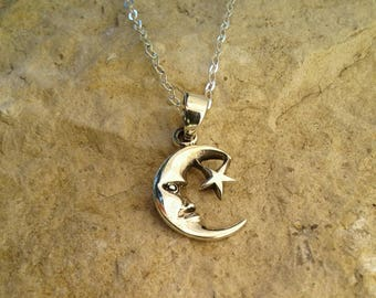 Moon and Star Necklace, Solid Sterling Silver Moon and Star Pendant Necklace, Moon and Star Charm