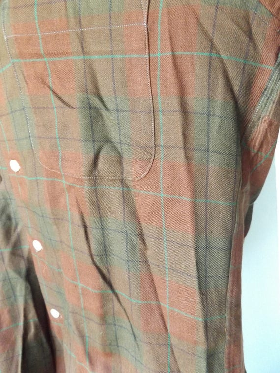 woven hipster men's shirt gaberdine plaid shadow army green size collar rockabilly m 50s brown oxford medium vintage loop rusty 1qgpz4
