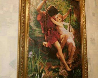Lovers on the swing, cross-stitch, handmade sell