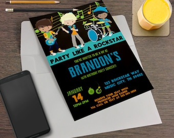 Party Like A Rockstar Printable Birthday Party Invitation - Drummer, Guitar, Rock Out, Boy Rockstars, Concert, Concert Poster