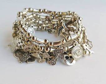 beaded bracelet - silver jewelry - silver bracelets - amulet jewelry - Protection - stretch bracelets - charm jewelry - beaded bracelets