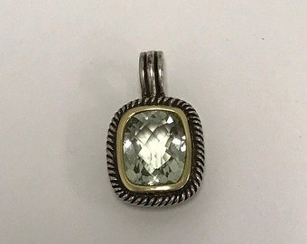 CLEARANCE CLOSEOUT Prasiolite Sea Green, Gold & Sterling Silver Rectangle Two Tone Braided Pendant Necklace