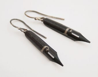 Black Fountain Pen Nib Dangle Earrings Quirky Black Earrings with J Monogram Bohemian Gift for Writer Teacher or Poet Jane Austen Earrings