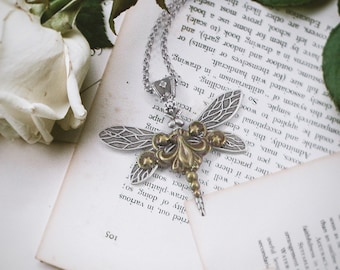 Sky Dancer Dragonfly Necklace - Insect Jewelry, Steampunk Jewelry, Dragonfly Lover Gift, Gifts for Women, Spring, Dragonfly Jewelry, Skyward
