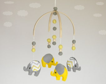 Sale Elephant  baby Mobile Moder baby mobile Felt ball mobile Yellow gray chevron Gender neutral Baby Crib Mobile You can pick your colors!