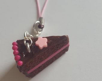 Chocolate Raspberry Cake - Polymer Clay Charm