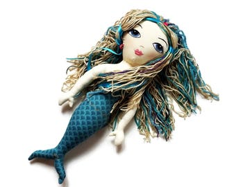 Little Girl Mermaid Doll - Custom Rag Doll - Little Mermaid Art Doll - Handmade to Order