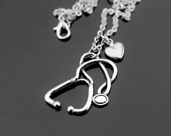 Science Jewelry Stethoscope Necklace  Silver Stethoscope Charm Medicine Doctor Medical School Anatomy Nurse Gift  Personalized Necklace