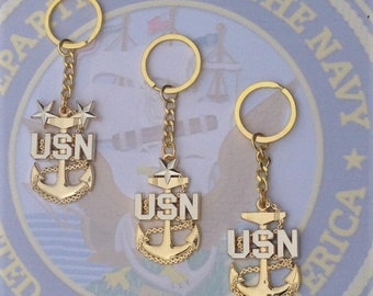 Navy Chief, Senior or Master Chief Fouled Anchor Keychain