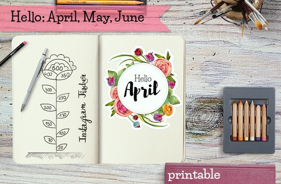 Spring Months Covers for Bullet Journal Planner / hello