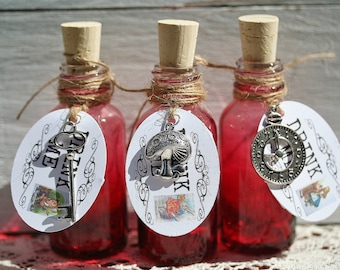 10 Red Glass Drink Me Favors Alice in Wonderland Drink Me Bottles Drink Me Tags For Alice In Wonderland Party Tea Party Favors