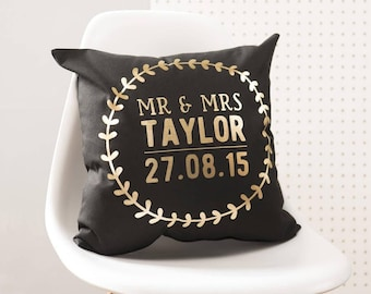 Personalised Black And Gold Wedding Details Cushion Pillow
