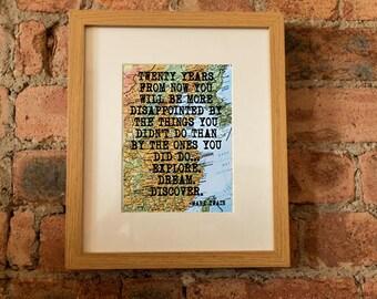 Mark Twain Inspirational Travel Quote Print - Hand-Pulled Screenprint.