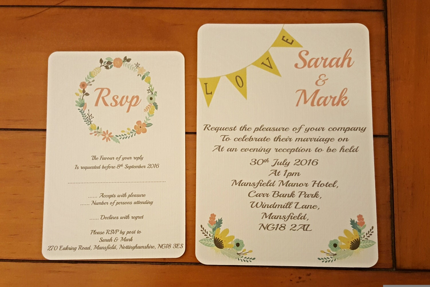 wedding invitation set, yellow love, bunting text, invitation and ...