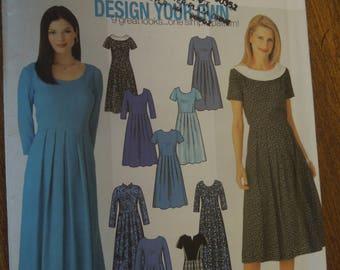 Simplicity 9829, sizes 14-20, misses, petite, design your own dress, UNCUT sewing pattern