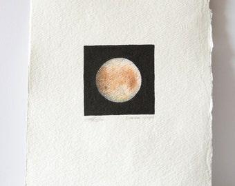 ORIGINAL Europa drawing, mini Moon drawing, moon art, space art, night sky, little moons, science illustration art, boho decor, handmade