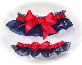 New England Patriots Wedding Garter Set    Handmade  Keepsake and Toss   Bridal Keepsake Toss nrr