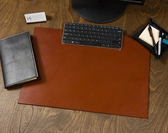 Full Grain Leather Desk Pad Blotter / personalize / customize / choose color / brown / monogram / laptop / office / size / fathers day