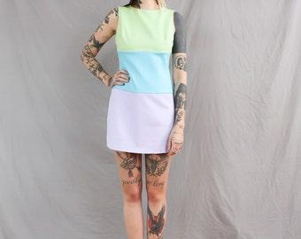 SALE 90's Pastel Color block Shift Dress in Medium Mint Green, Lilac, Sky Blue 1990s Easter Dress Go go Mini dress Spring short