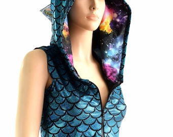 Turquoise Mermaid Scale Zipper Front Sleeveless Crop Hoodie with Silver Holographic Spikes & UV Glow Galaxy Hood Liner 154024