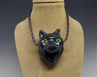 Black Cat Handmade Glass Pendant 3