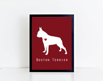 Boston Terrier Dog Printable Wall Art - Modern and Clean Boston Terrier Puppy Dog - Custom Background Color - 8x10