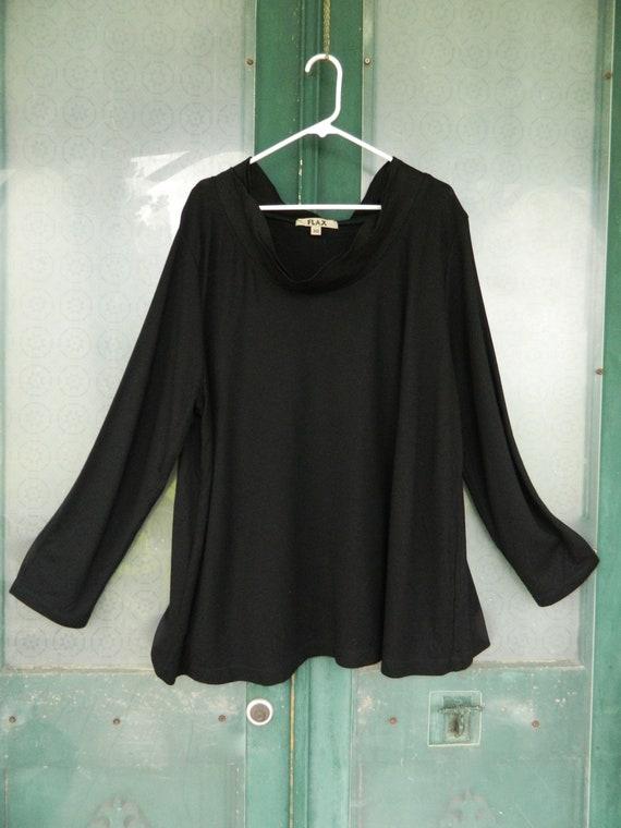 FLAX Engelheart Long Sleeve Pullover Short Cowl Neck Tunic -3G/3X- Black Rayon Nylon Spandex