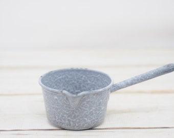 Vintage Graniteware Enamelware Grey Speckle Sauce Pot With Handle And Pour Spout