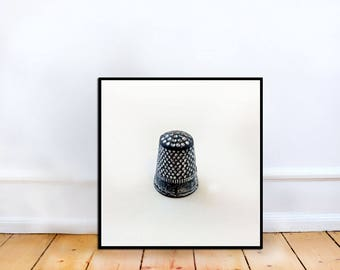 Fine Art Photo - Monopoly thimble Game Piece, square Fine Art Photography, Sewing room, home decor, gift for sewer, gift