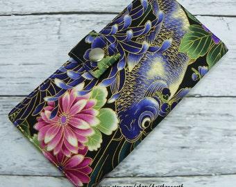 Asian Koi wallet - Handmade Long Wallet BiFold Clutch koigifts under 50