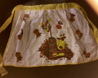 Vtg 60s 70s Yellow Brown Butterchurn, Floral & Hat Apron