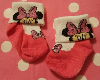 Minnie Mouse Hot with Bows Pink Footies