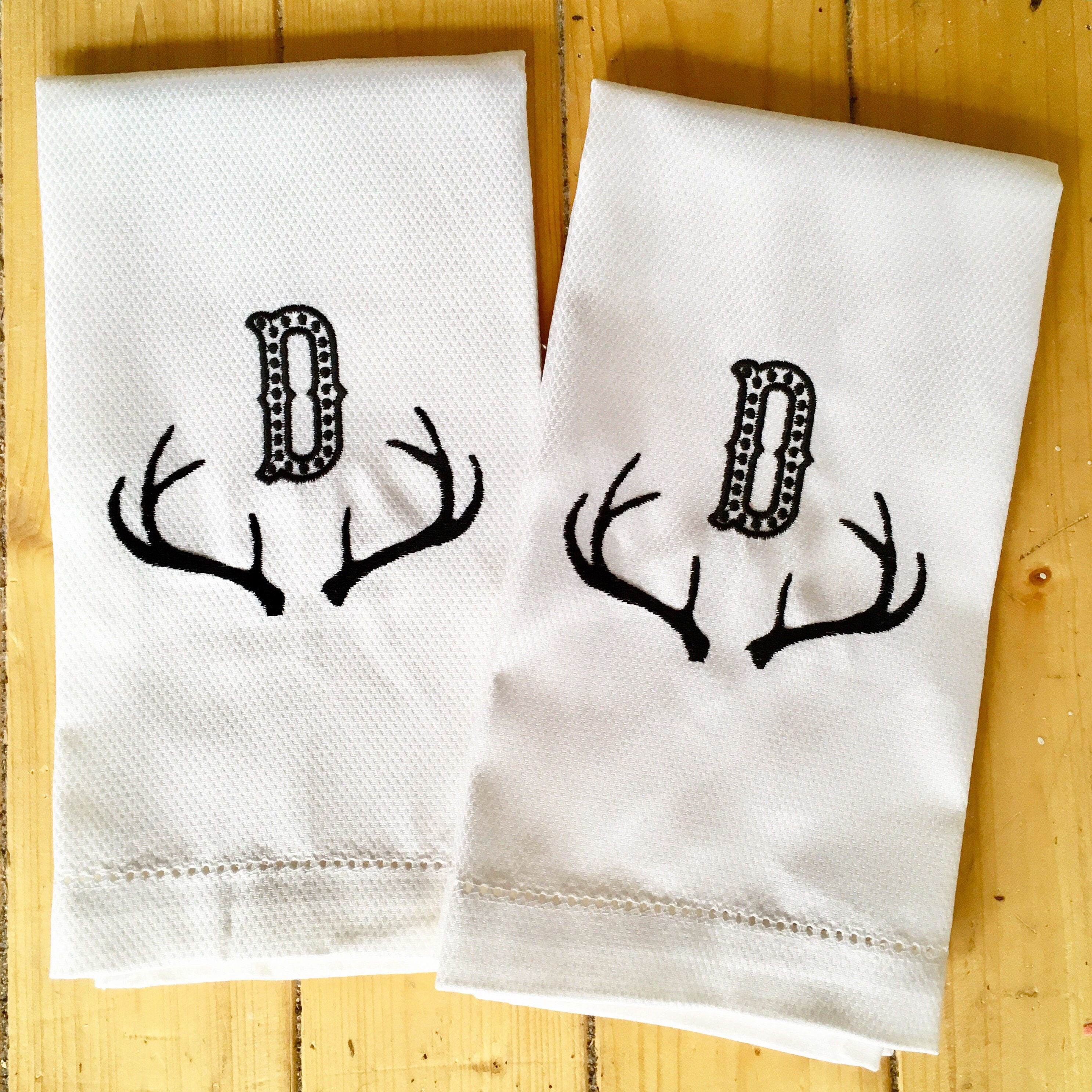 Embroidered Towels For Wedding Gift: Monogram Hand Towel With Embroidered Antlers / Wedding Gift