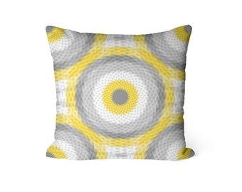 Throw Pillow Cover, Yellow Grey Decor, Yellow Grey Pillow Cover, Home Decor, Pillow Covers