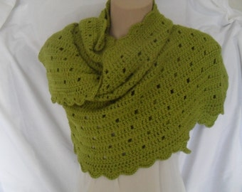 Crocheted olive green wrap