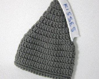 Kisses Baby Hat, Crochet Kisses Gray Baby Cap MADE TO ORDER by Charlene, Photo Prop, Twins or Triplets Beanies