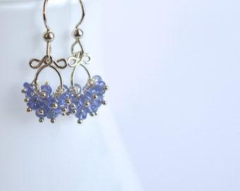 Mabel - Tanzanite Sterling Silver Earrings | Delicate Silver Dangles | Lightweight Earrings | Tanzanite Dangles