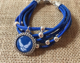 Air Force/military blue leather multi-strand bracelet, silver charm leather bracelet