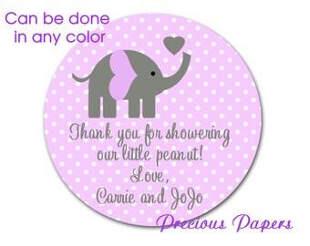 Personalized PRINTED purple elephant baby shower sticker purple polka dot baby shower favor stickers purple elephant labels