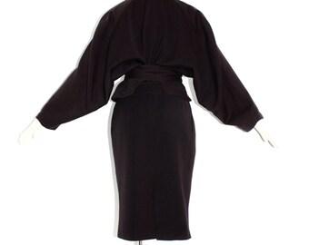 AZZEDINE ALAIA Vintage Black Skirt Suit Cape Back Wrap Waist Outfit