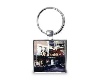 Ghirardelli in San Francisco - Glass Photo Keychain - Handmade