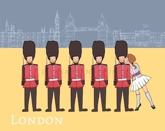 Children's Wall Art Print - London - Girl Kids Nursery Room Decor