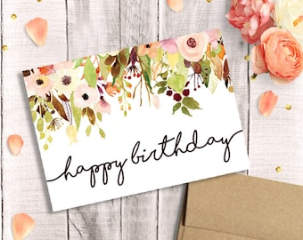 Floral birthday card Etsy