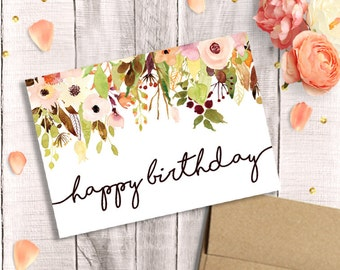 Printable birthday card for her happy birthday watercolor birthday card for her printable happy birthday watercolor floral instant download bookmarktalkfo Gallery